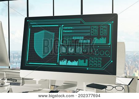 Close up of creative designer desktop with antivirus interface on computer screen coffee cup supplies and other items. Panoramic city view in the background. Guard concept. 3D Rendering