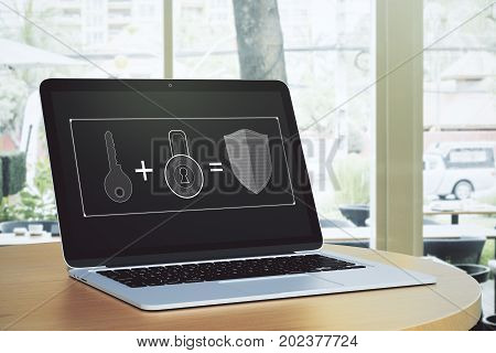 Cafe table with antivirus page on laptop screen. City view background. Attack concept. 3D Rendering