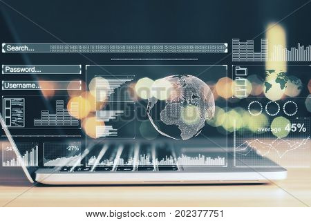 Side view of laptop with digital business hologram placed on desktop and blurry background. Network concept. Double exposure