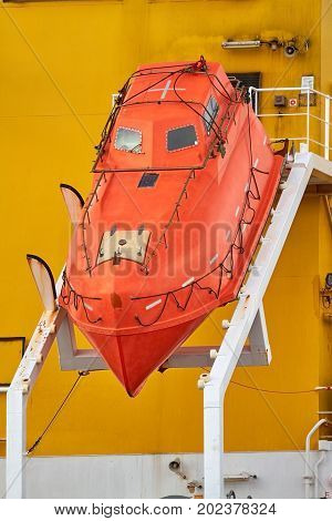 A free-fall lifeboat is a special form of a rescue boat on board ships.