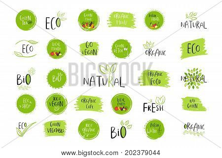Collection of vector eco bio green logo or sign. Vegan raw healthy food badge tag for cafe restaurants products packaging. Hand drawn leaves branches with lettering. Organic design.