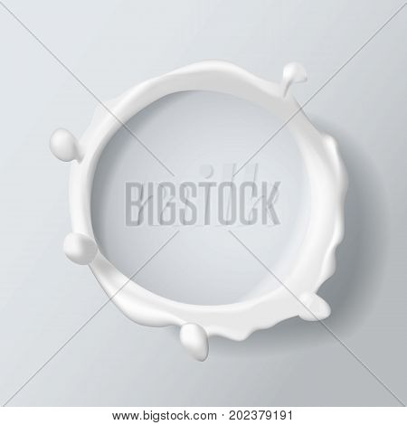 Milk splash. Natural dairy products. 3d vector object