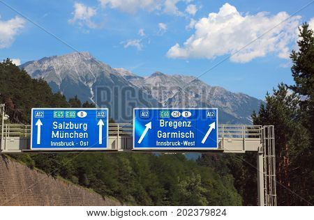 Directions On The Motorway To Go To Salzburg
