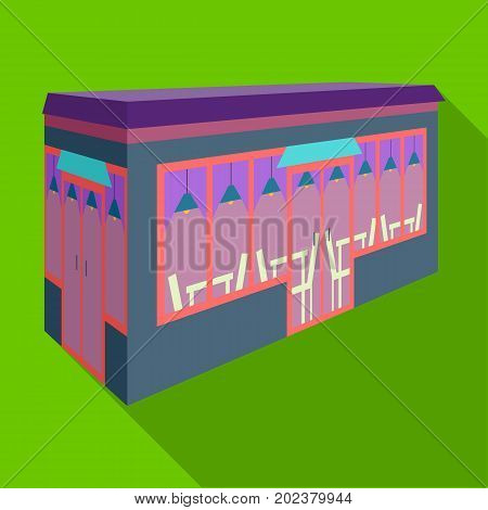 Bar, restaurant. Architectural construction of the bar single icon in flat style vector symbol stock illustration .