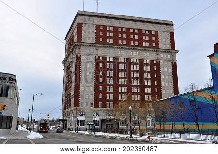 UTICA, NY, USA - FEB. 22, 2013: Hotel Utica is a historic landmark built in 1912 on 102 Lafayette Street in downtown Utica, New York State, USA.