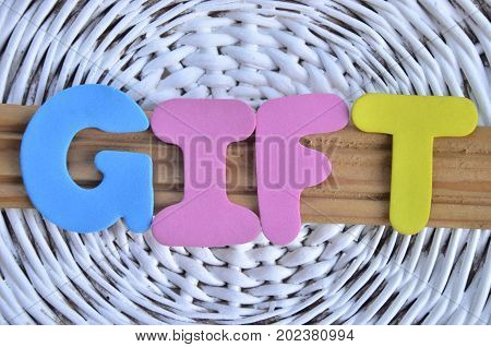 word gift on a  abstract  white background