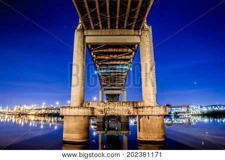 Bridge Overpass In Portland At Night