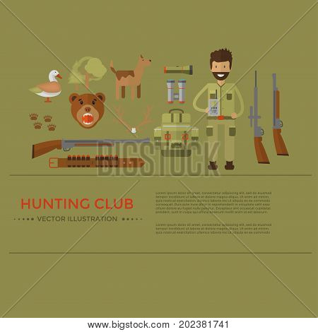 Banner of hunting equipment and gear for hunt. Vector icon collection: rifle knife shotgun boots binoculars flashlight lantern compass backpack and cartoon character.