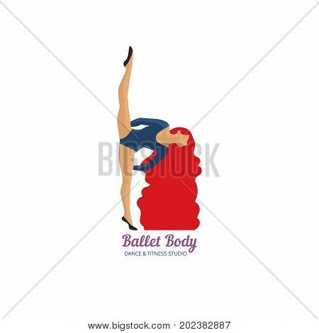 Dance icon concept. Ballet studio logo design template. Colorful flat retro style. Fitness dance class banner background with symbol of abstract  ballerina in dancing pose. Vector illustration.