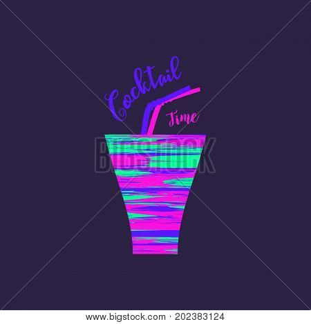 Drinks concept. Bright neon layered liquor icon.  Flat style. Cocktail time design. Drink in glass. Template for logo  or advertisement. Element for club event banner background. Vector illustration