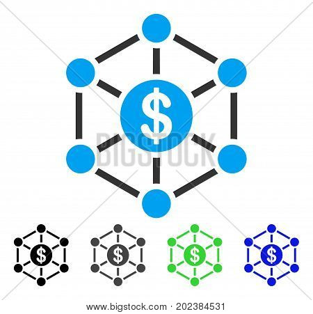 Financial Network vector icon. Style is a flat graphic symbol in black, gray, blue, green color versions. Designed for web and mobile apps.