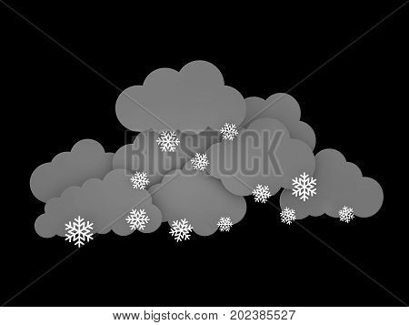 3d illustration of Snowflakes and Rainclouds on black background.
