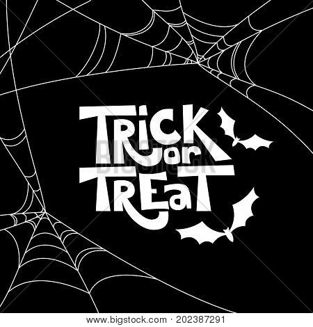 Trick Or Treat Isolated Quote And Halloween Design Elements. Vector Holiday Black And White Illustra