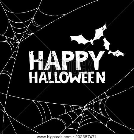 Happy Halloween Vector Banner, Poster Design Elements. Holiday Black And White Illustration.