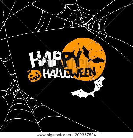 Happy Halloween Vector Banner, Poster Design Elements. Holiday Illustration With Full Moon, Bat, Pum