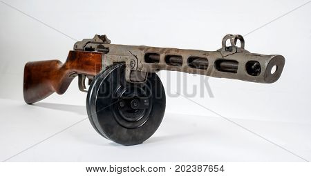 submachine gun ppsh-41 on a light background. View front right