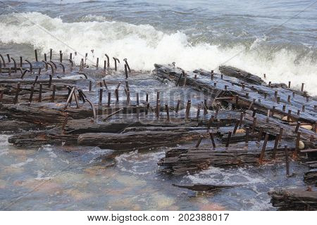 Wooden ship wreckage in Pictured Rocks National Lakeshore, Upper Peninsula of Michigan