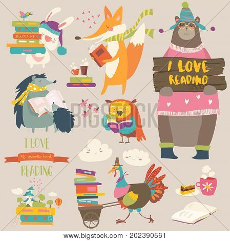Set of cartoon animals reading books. Vector collection
