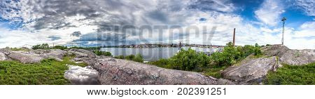 Skinnarviksberget is highest natural point in central Stockholm and popular place for picnics. 360 degree Panoramic montage from 31 images