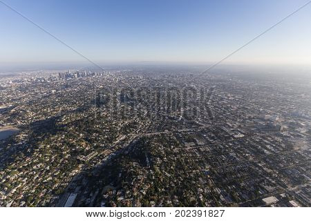 Afternoon aerial view of Echo Park and downtown Los Angeles, California.