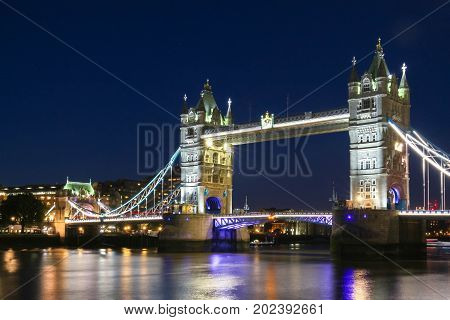 Tower Bridge in London in the evening, England, United Kingdom It is a combined bascule and suspension bridge built between 1886 and 1894.