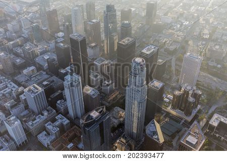Los Angeles, California, USA - August 7, 2017:  Afternoon aerial view of urban downtown office towers.