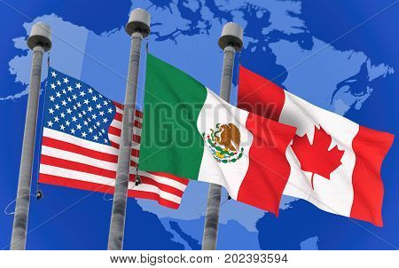 Canada Mexico and US Flags over north america map conceptual image for Nafta agreement (3D rendered image)
