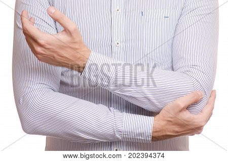 Female hand hurts the arm of the elbow on a white background isolation