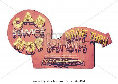 Isolated Retro Vintage Diner Drive Thru And Car Hop Neon Sign