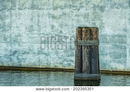 The piling on a river next to a Wisconsin bridge.