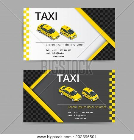 Business card design in black, white and yellow colors. Vector template for taxi company and taxi driver
