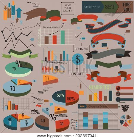 Collection of vector infographic elements ribbons and diagrams