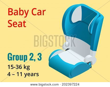 Isometric baby car seat group 2, 3 vector illustration. Road Safety Type of child restraint rearward-facing baby seat, forward-facing child seat, booster cushion.