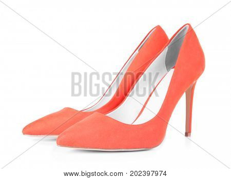 Pair of classic pump shoes isolated on white