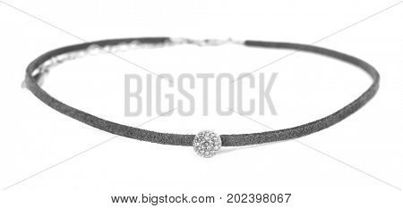 Grey suede choker with crystal beads isolated on white