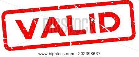 Grunge red valid square rubber seal stamp on white background