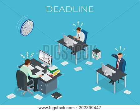 Deadline Concept of overworked man Time to work Time management project plan schedule Sand clock Flat 3d vector isometric illustration.