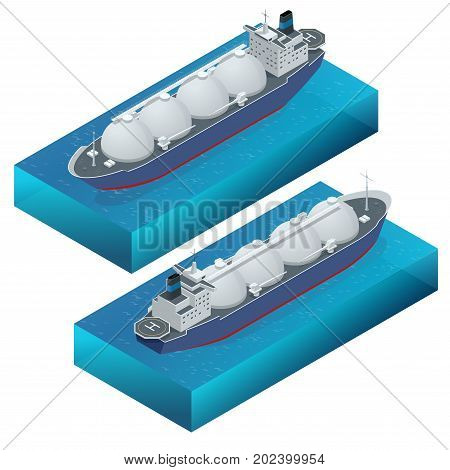 Isometric vector illustration gas tanker, flat design isolated on white background. Cargo ships. Oil, gas tanker. Container ship. LNG tanker.