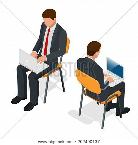 Isometric man in suit sitting with a laptop on his knees on isolated background. Successful businessman sitting in an office