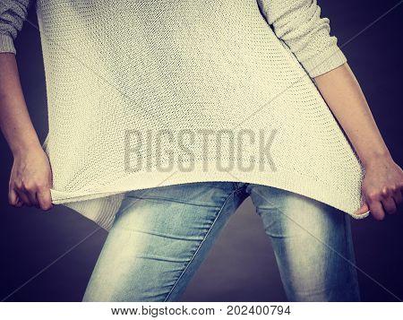 Unrecognizable Woman Wearing Too Big Jumper