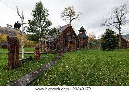 ESSO VILLAGE KAMCHATKA PENINSULA RUSSIAN FAR EAST - SEPTEMBER 18 2013: Buildings in Bystrinsky Ethnographic Museum in Bystrinsky Region on Kamchatka Region.