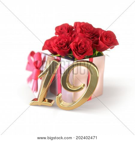 birthday concept with red roses in gift isolated on white background. 3D render - nineteenth birthday. 19th