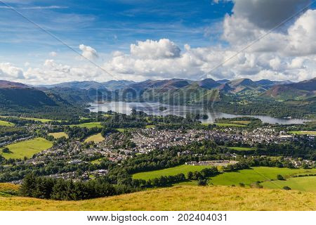 View of Keswick and lake Derwent Water from Latrigg Cumbria UK