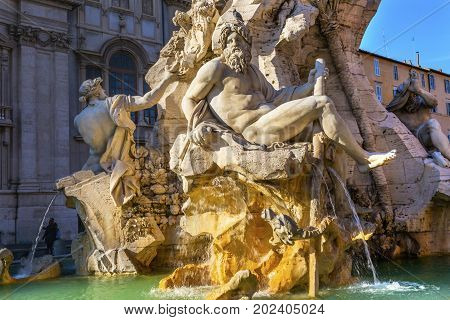 Bernini Fontana Quattro dei Fiumi Fountain of Four Rivers Ganges Danube Nile and Plate Piazza Navona Rome Italy. Piazza site of Roman racetrack created in 1600s. Bernini created fountain in 1651.