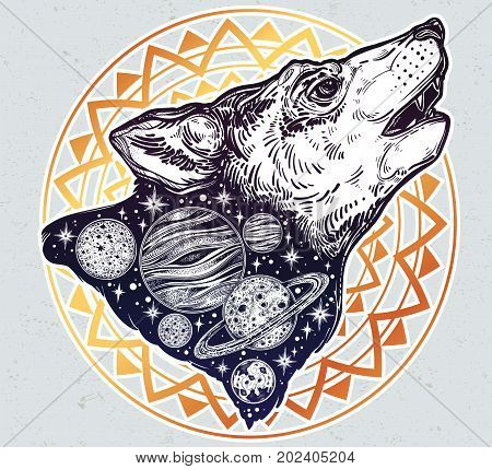Double exposure, deocrative wolf howling at moon, space planets landscape, night sky. Isolated vintage vector illustration. Solitude, freedom. Tattoo, adventure, wildlife symbol. The great outdoors