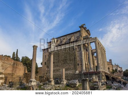 Temple Emperor Antonius and Wife Faustina Corinthian Columns Roman Forum Rome Italy. Temple created in 141 AD by Emperor now part San Lorenzo Church