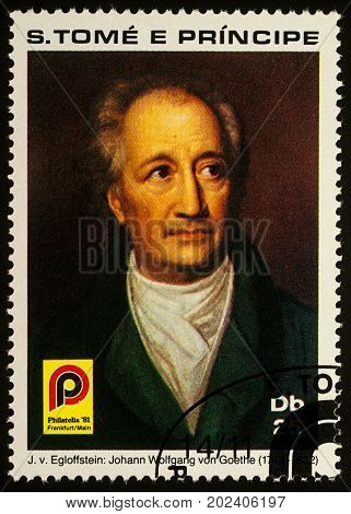 Moscow Russia - September 01 2017: A stamp printed in Sao Tome and Principe shows portrait of German poet Johann Wolfgang von Goethe (1749-1832) circa 1981
