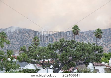 BURBANK, CALIFORNIA - SEPTEMBER 1, 2017: Brush Fire in the Verdugo Mountains