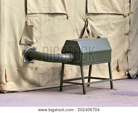 Metal body of the field heating system for the army tarpaulin tent