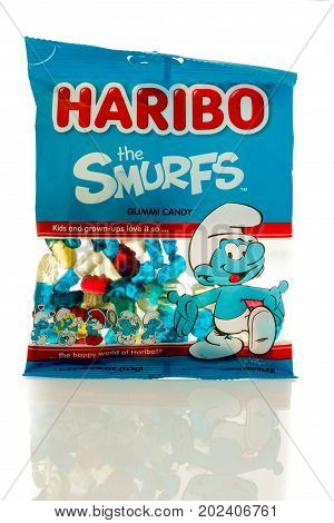 Winneconne WI - 30 August 2017: A bag of Haribo Smurfs gummi candy on an isolated background.